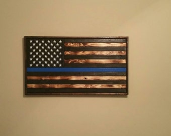 Handmade all wood American flag. With Thin Blue Line
