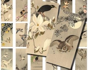 Japanese Woodblock Print / vintage birds owl / Dominoes / collage sheets / vintage ephemera / digital scrapbook kit / japanese wood block AL