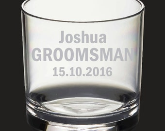 Etched Groomsman, Best man whiskey glass - permanently etched design