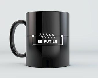 Trekkie Mug - Resistance is Futile - Borg Picard Janeway Star Trek The Next Generation Inspired Ceramic Coffee Mug Black/Whit 11oz 15oz