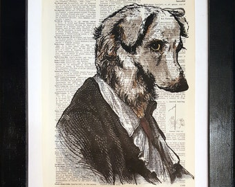 Philosopher Dog - Victorian collage on dictionary page - vintage prints