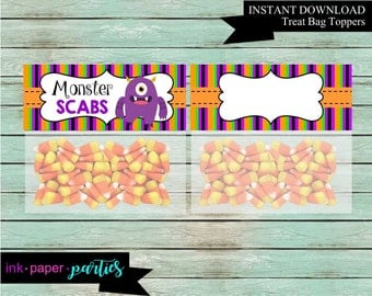 Halloween Monster Scabs Warts Party Favors Favor Bag Treat Toppers Digital File Instant Download