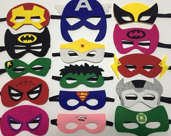 Party Pack, superhero mask, Felt Superhero Masks - Ironman, Flash, Green Lantern, kids party favor, super hero party, superhero party favor