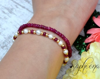 Genuine Ruby / Pearl Bracelet-SET of 2- Ruby-Freshwater Pearls-hand knotted- 14K Gold fill Clasp- RUBY July Birthstone Hand made by Sapheena
