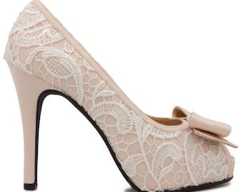 custom made jacey white lace wedding shoes