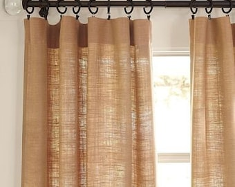Fall Sale! 20% Off .Burlap Curtains, Livingroom Curtains.upscale