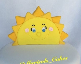 Fondant sun cake topper