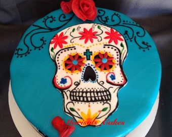 Fondant Sugar Skull Cake topper