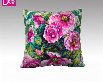 Cushion cover on grounds of wild roses, Velvet