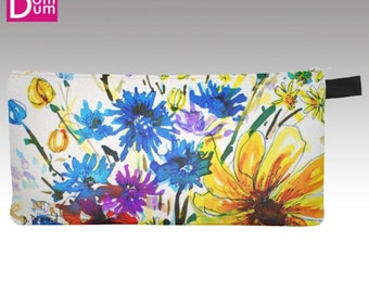 Case with pencil or makeup, watercolor print wild flowers