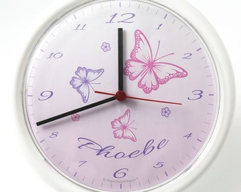 CHASING BUTTERFLIES Bedroom Wall CLOCK Personalised With Any Girls Name    Matching Butterfly Bedroom Decor Available