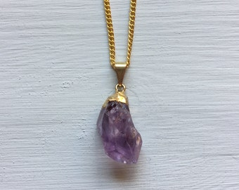 Gold Dipped Amethyst Point Necklace