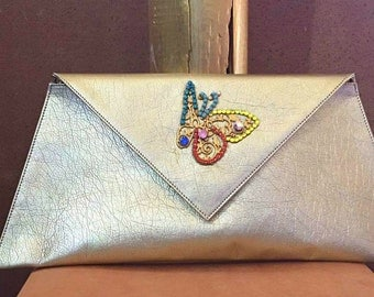 Limited edition, Clutch bag, Handmade, Envelope Clutch, Gold Clutch, Handmade Butterfly buckle with czech crystals!
