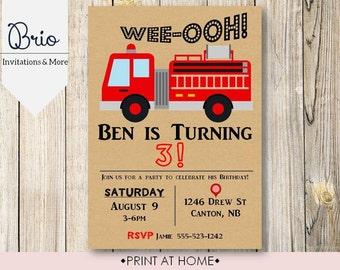 Firetruck Birthday Party Invitation Printable!