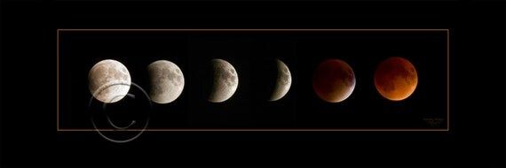 Phases of the Blood Moon, Blood Moon,Photo,Wall Picture,Moon,Gift,Home Decor,Home Decor Office,Lunar Eclipse,Horizontal