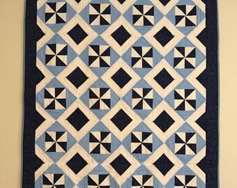 blue & white quilt