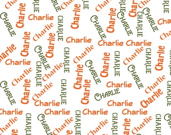 Personalized cuddle Name Fabric / Orange & Olive Green / Word Toss/ Fabric for applique / in-the-hoop / Fabric #3