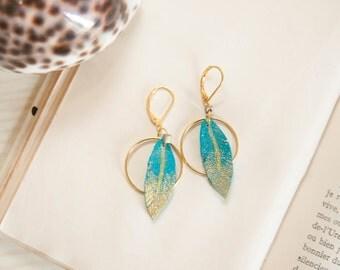 Bohemian hoop earrings, leather earrings, feather earrings, boho jewelry, indian feathers, precious earrings, nomadic earrings, retro style