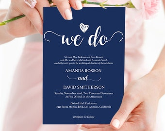 Navy blue wedding invites instant download - Navy Wedding Invitations - Downloadable wedding invitations PDF Instant Download #WDHOO10