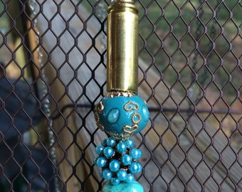 Bronze bullet and turquoise beaded necklace