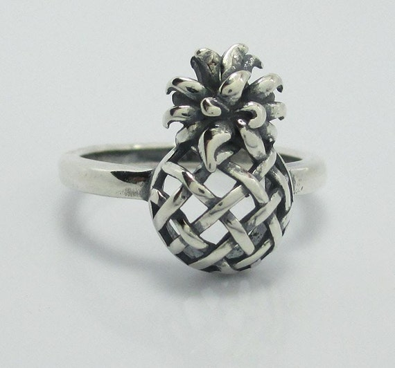 oxidized sterling silver 925 pineapple ring