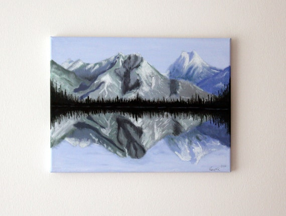 "Mountains Landscape Painting Art Acryl Original // ""Reflection"" 30x40cm on Canvas"