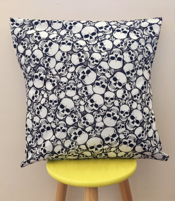 Black and white skull, Halloween cushion cover