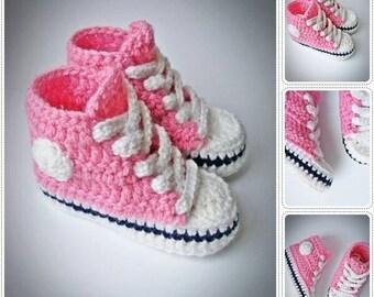 Crochet Baby Sneakers, Crochet Baby Converse, Crochet Baby Sneakers Pink, Baby Sneakers, Baby Boots, Baby Girl Sneakers