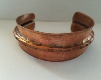 Hand-hammered & folded copper bracelet cuff