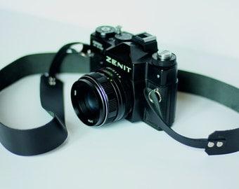 Black leather camera strap belt