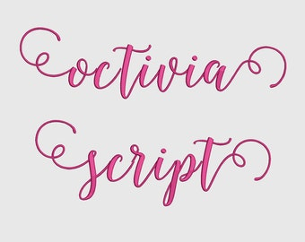 3 Size Octivai Script Font Embroidery Fonts BX  9 Formats Embroidery Pattern Machine BX Embroidery Fonts PES