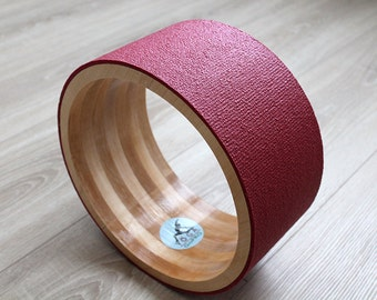 "12"" ECO Yoga Wheel. Wooden yoga wheel. Wheel covered with red yoga mat. Wooden circle"