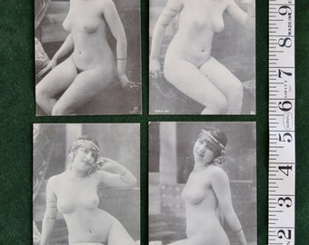 4  French Pin Up Postcards   reproductions (from the 70's)