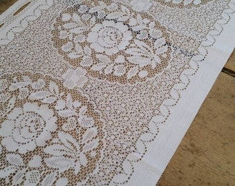 White Lace Floral Window Topper Curtain