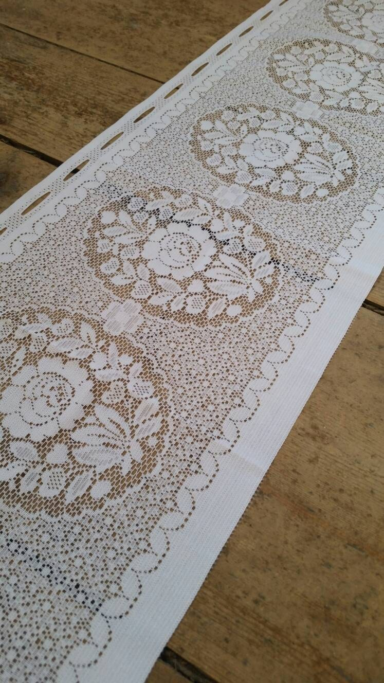 White Lace Floral Window Topper Curtain Vintage Lace Curtain