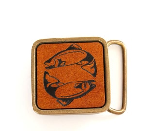 1970s vintage fish belt buckle . solid brass buckle with leather inlay . pisces belt buckle for men and women . square buckle