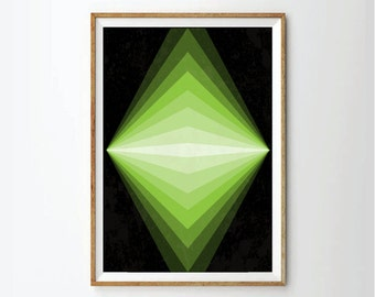 Geometric art. geometric poster, poster sale, abstract art, green geometric, neon colors