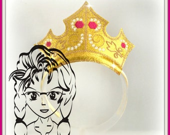 SLeePING PRiNCESS CRoWN ~ Inspired Character ITH In the Hoop Headband ~ INSTaNT Machine Embroidery Download Design by Carrie