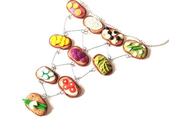 Necklace SWEDISH SLICES --miniature tartines (slices of bread), handmade by The Sausage