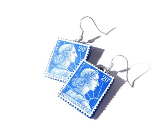 Earrings FRENCH REPUBLIC -- 20 francs blue stamps earrings, vintage stamps, by The Sausage