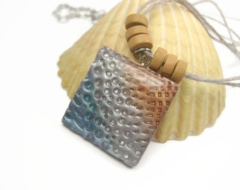Summer Beaches Colorful Textured Pendant Necklace, Blue Gray Orange, Handmade