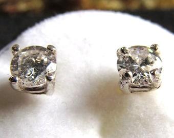 4mm Round Cubic Zirconium Sterling Silver Stud Earrings