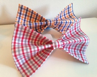Red White and Gray Plaid Alabama Dog Bow Tie or Orange White and Blue Plaid Bow Tie in Small, Medium or Large