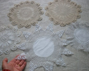 5 x Fine French Doilies ~ Lace Linen ~ perfect for re-use or repurposing ~ Vintage House Linen