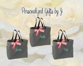 5 Personalized Bridesmaids Gift Tote Bags Monogrammed Tote, Bridesmaids Tote, Personalized Tote Wedding Bag, Bridesmaid Gift Bags