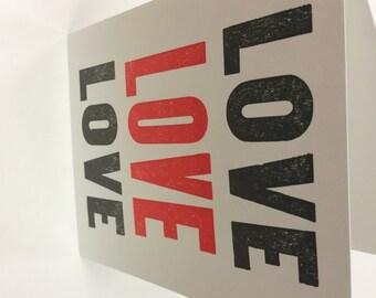 Letterpress valentine LOVE card
