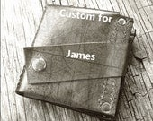 Men's Leather Money Clip Wallet - Hand Stitched - World Map - MADE to ORDER