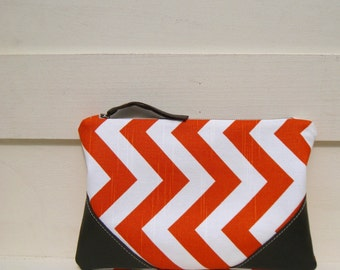 Orange Clutch, orange, chevron,pocket,medium, travel, wedding favours, medium pouch gift for her