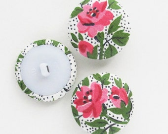 Vintage Fabric Covered Buttons 1 Inch | 3 Pink 1960s Floral Fabric 25mm Shank Buttons