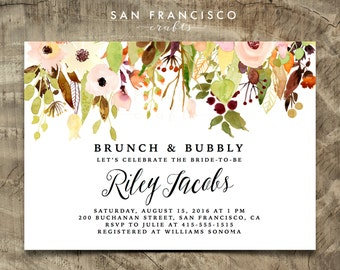 Brunch and Bubbly Fall Bridal Shower Invitation |  Watercolor, Floral, Printable Invite |  Riley Collection  | Digital File